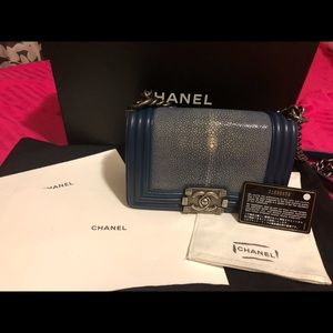 Limited!  100% authentic Chanel stingray leboy bag